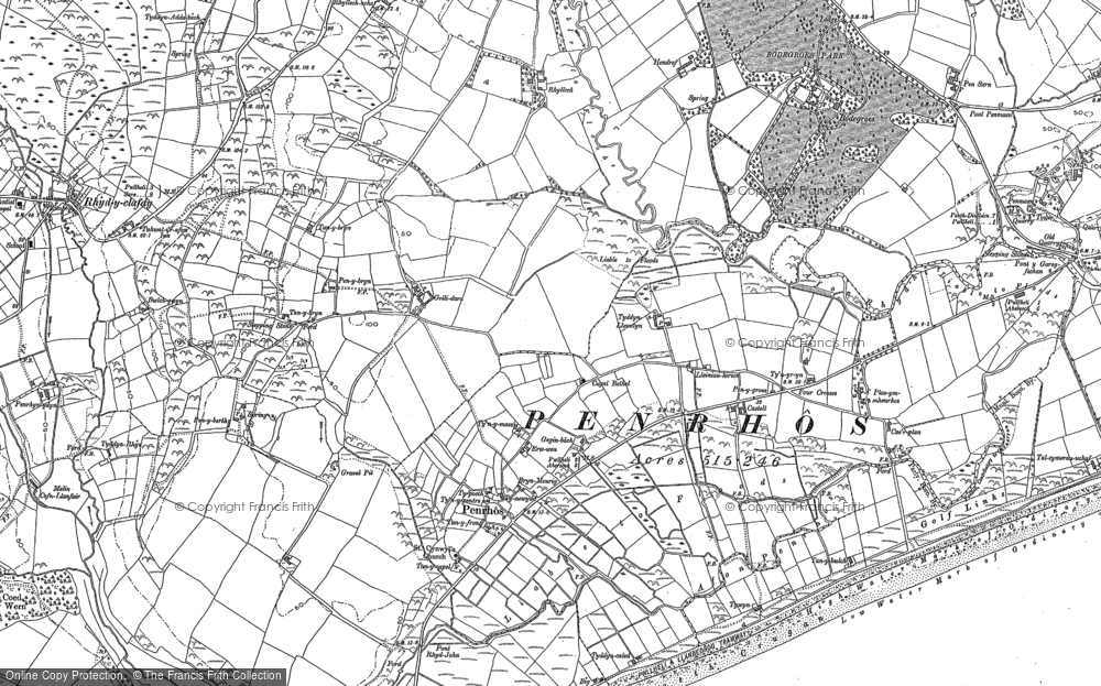 Old Map of Historic Map covering Afon Penrhos in 1888