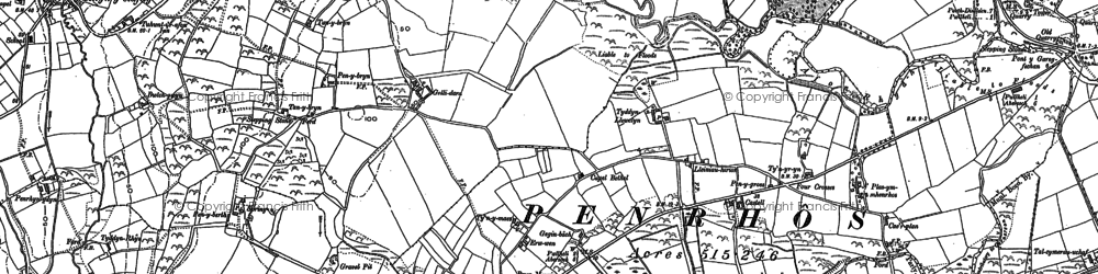 Old map of Afon Penrhos in 1888