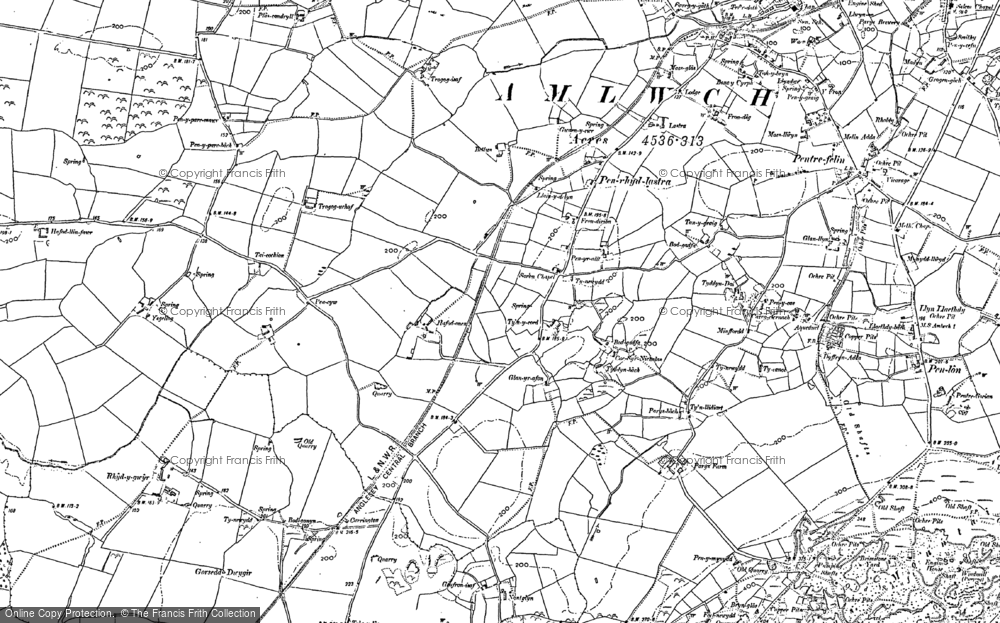 Old Map of Historic Map covering Ysgellog in 1899