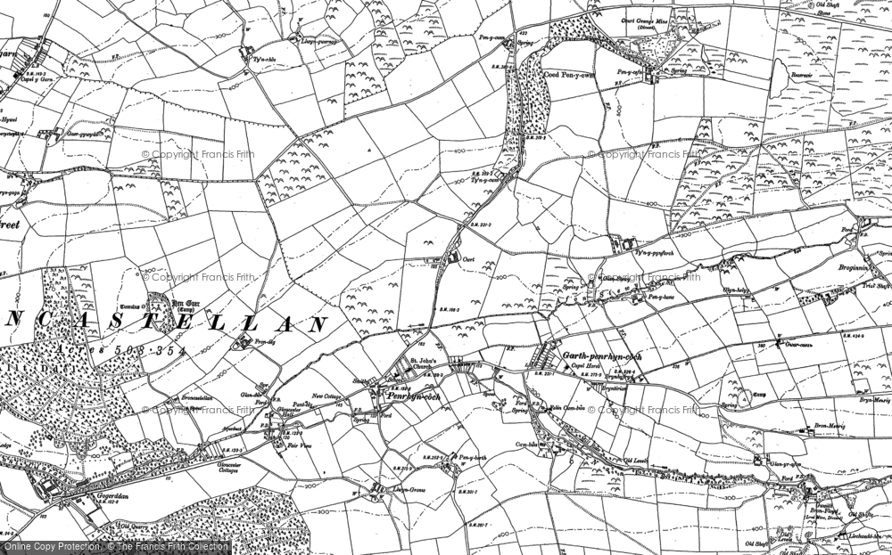 Old Map of Historic Map covering Afon Stewy in 1904