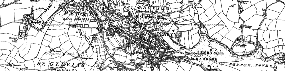 Old map of Penryn in 1906