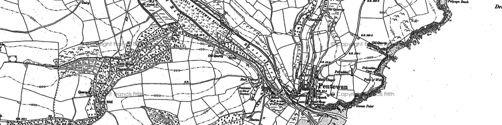 Old map of Pentewan in 1881