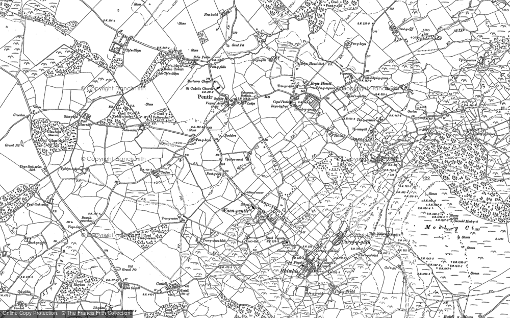 Old Map of Historic Map covering Afon Cegin in 1888