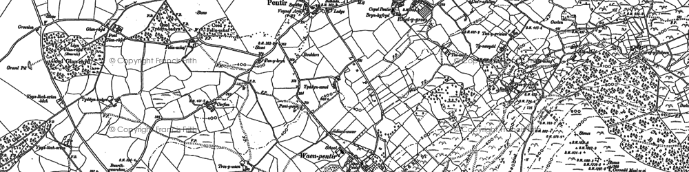 Old map of Afon Cegin in 1888