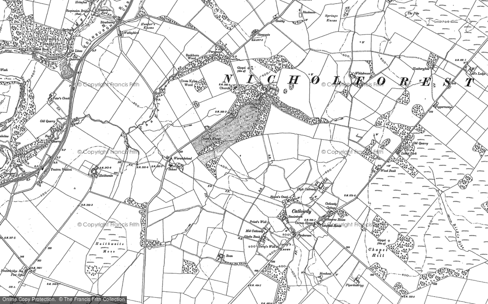 Old Map of Historic Map covering Liddel Lodge in 1899