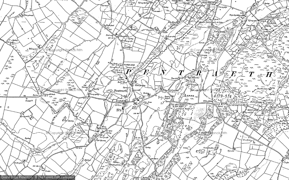 Old Map of Historic Map covering Afon Nodwydd in 1888