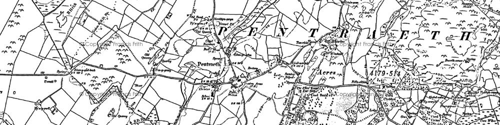 Old map of Afon Nodwydd in 1888