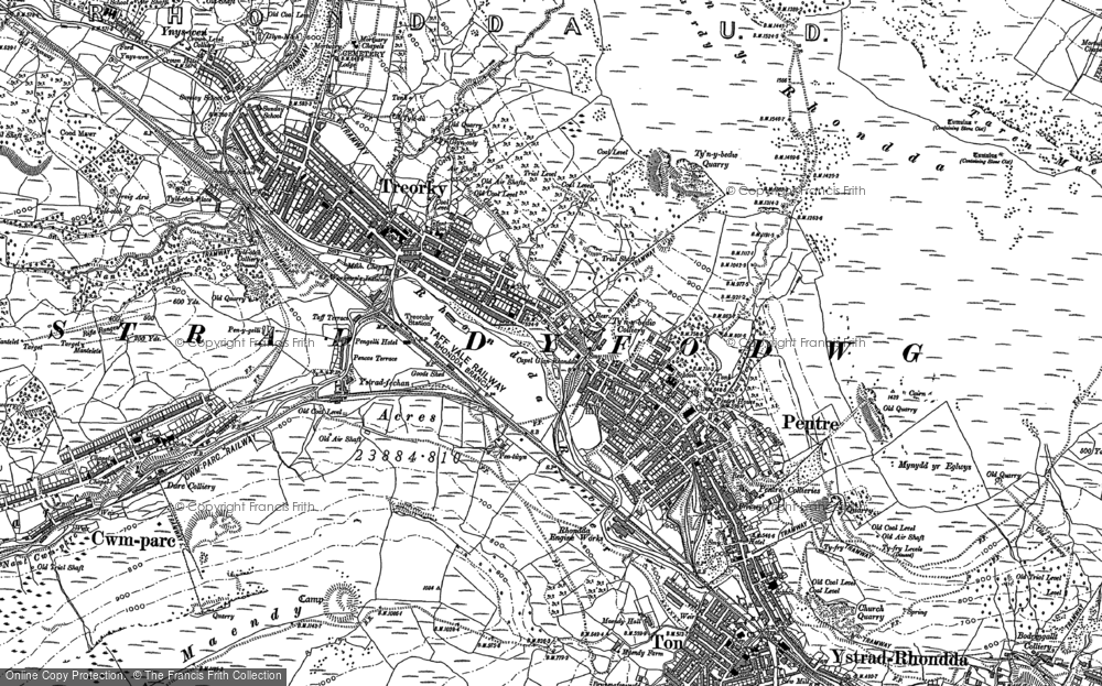 Old Map of Historic Map covering Rhondda in 1898