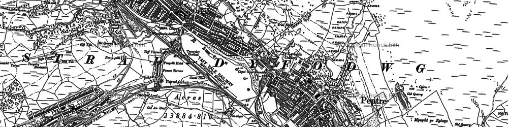 Old map of Pentre in 1898