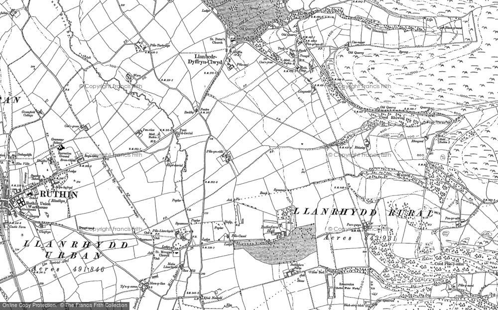 Old Map of Historic Map covering Llanrhydd in 1899