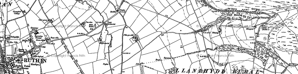 Old map of Bacheirig in 1899