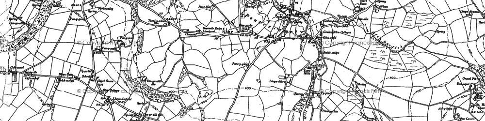 Old map of Pentre-cwrt in 1887