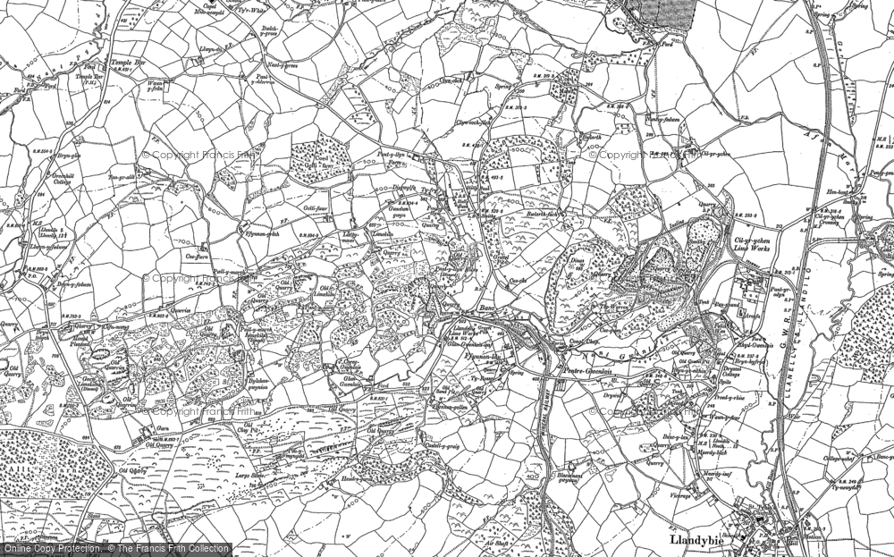 Old Map of Historic Map covering Afon Marlas in 1877