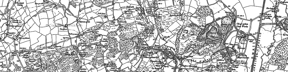 Old map of Afon Marlas in 1877