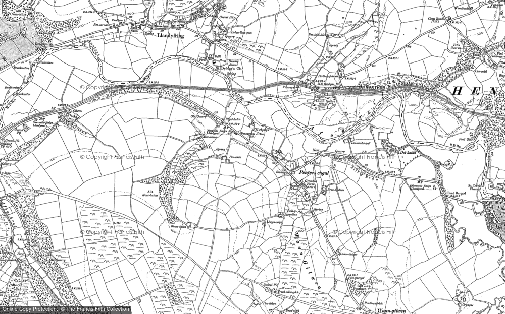 Old Map of Historic Map covering Aberlleinau in 1887