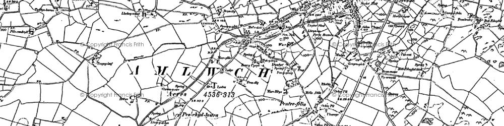 Old map of Pentrefelin in 1899