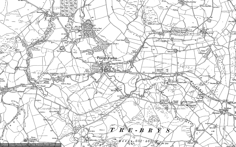 Old Map of Historic Map covering Afon Twllan in 1899