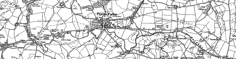 Old map of Afon Twllan in 1899