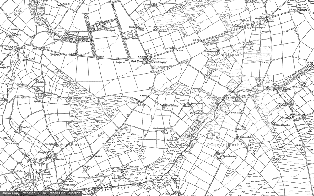 Old Map of Historic Map covering Afon Bedw in 1887