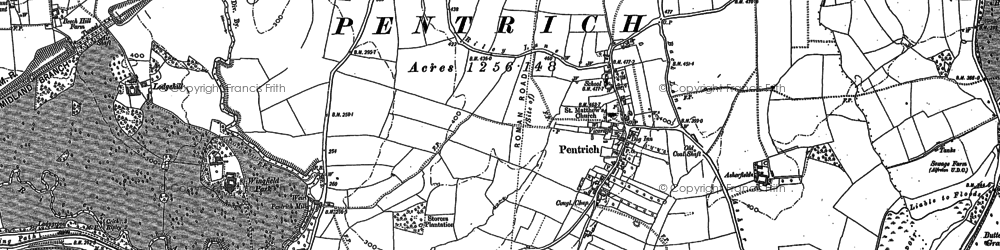 Old map of Pentrich in 1879