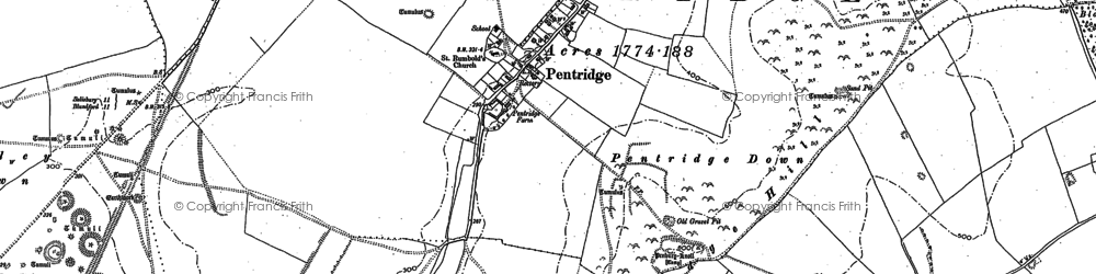 Old map of Ackling Dyke (Roman Road) in 1900