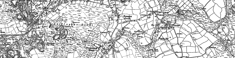 Old map of Penwithick in 1881