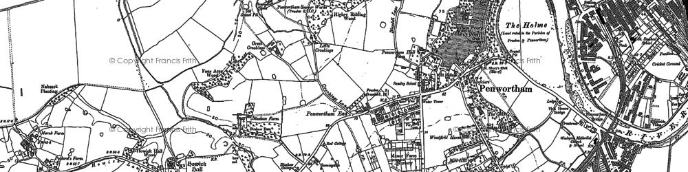 Old map of Penwortham in 1892