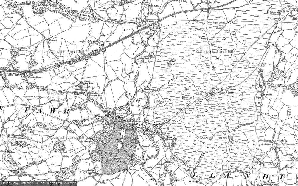 Old Map of Historic Map covering Abermithel in 1887