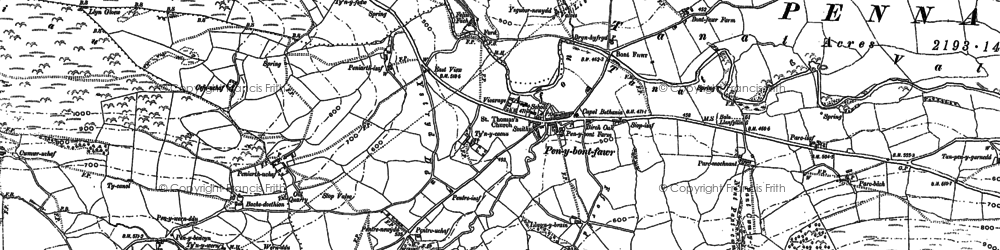 Old map of Penybontfawr in 1885
