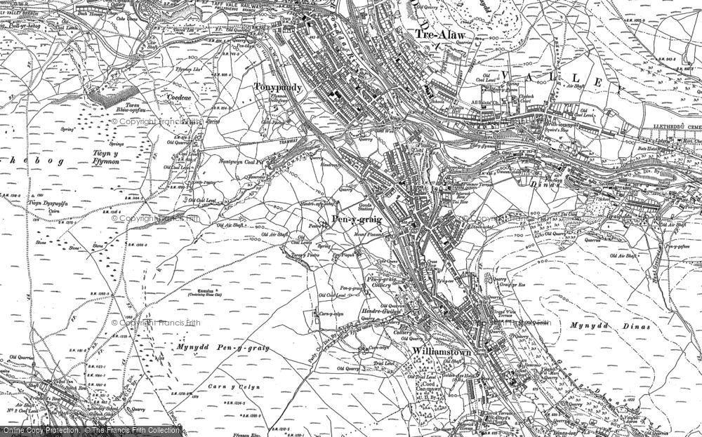 Old Map of Penygraig, 1898 in 1898