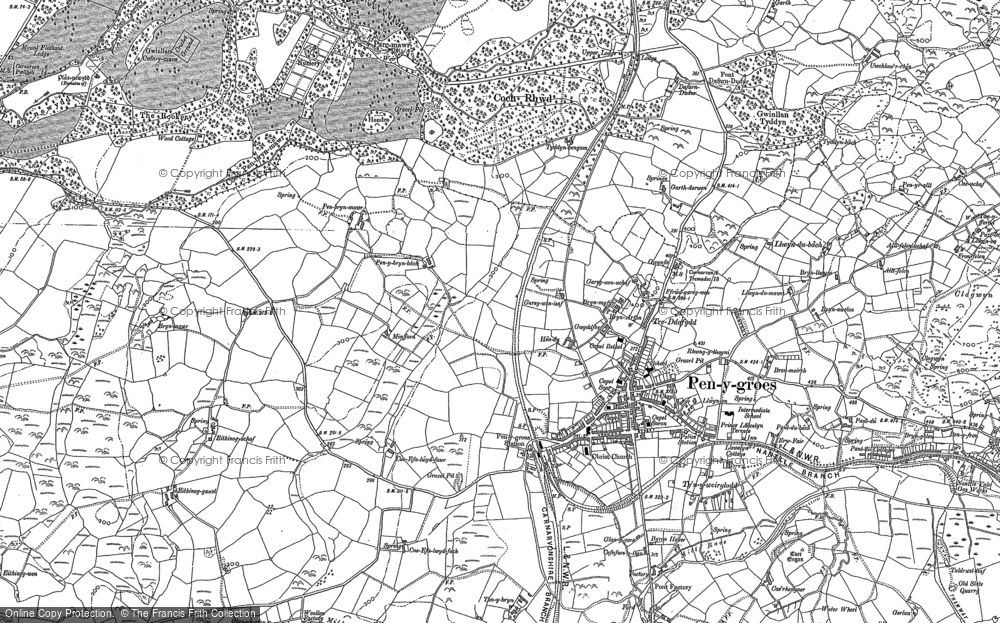 Old Map of Penygroes, 1888 - 1899 in 1888
