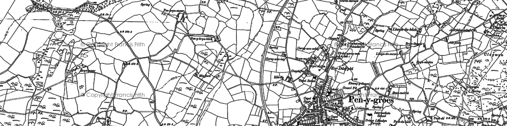Old map of Penygroes in 1888