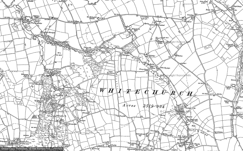 Old Map of Historic Map covering Afon Bannon in 1888