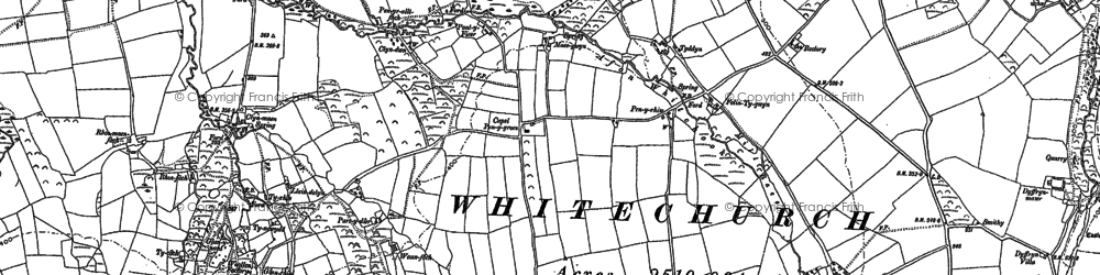 Old map of Afon Clun-maen in 1888