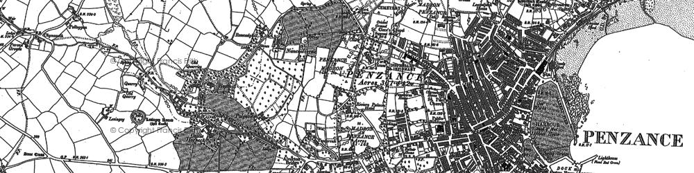 Old map of Penzance in 1906