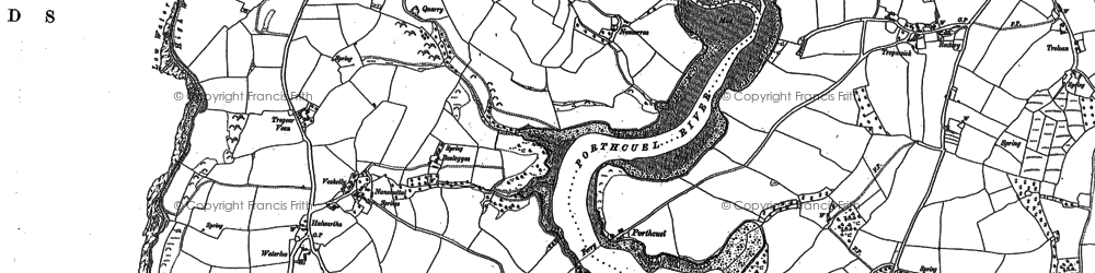 Old map of Percuil in 1879
