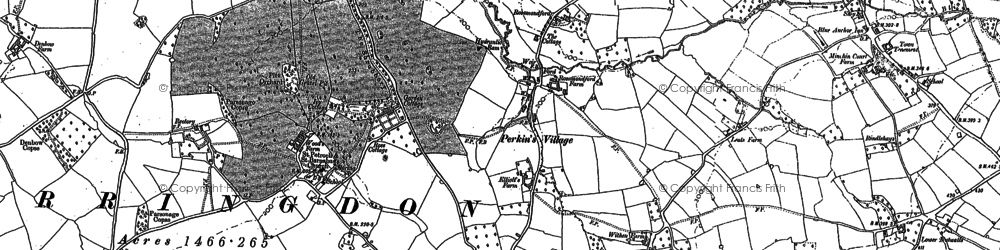 Old map of White Cross in 1888