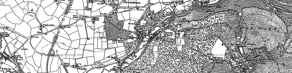 Old map of Carclew in 1878