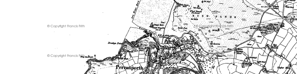 Old map of Perranporth in 1906