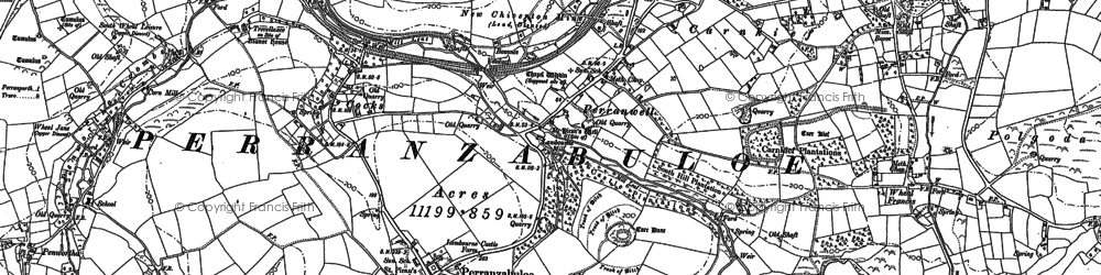 Old map of Perranzabuloe in 1906