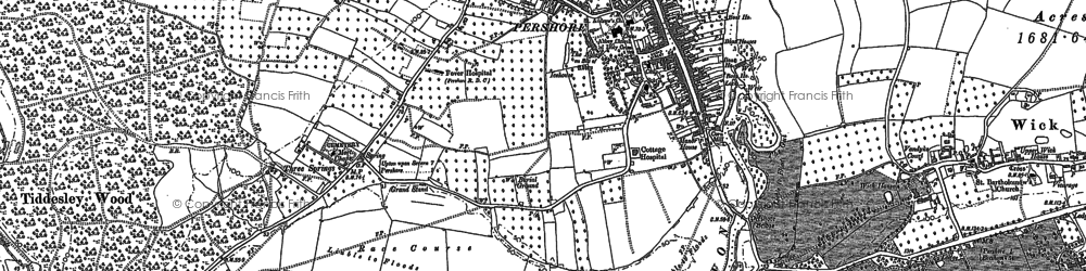 Old map of Pershore in 1884