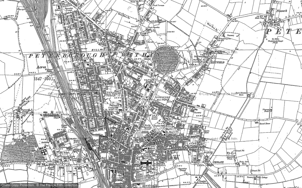 Map of Peterborough, 1886 - 1900