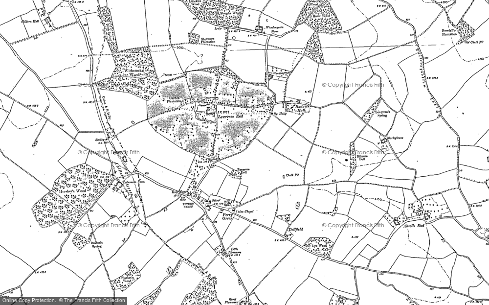 Old Map of Historic Map covering Whiteway Bottom in 1899