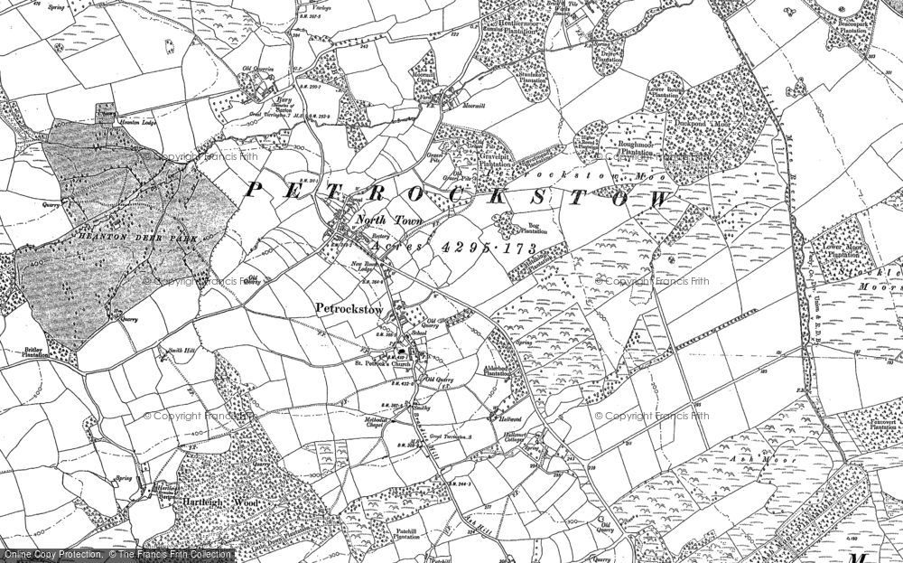 Old Map of Historic Map covering Ash Barton in 1884