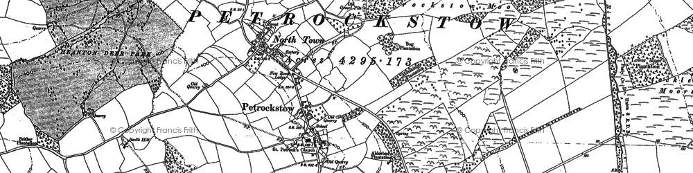 Old map of Ash Barton in 1884