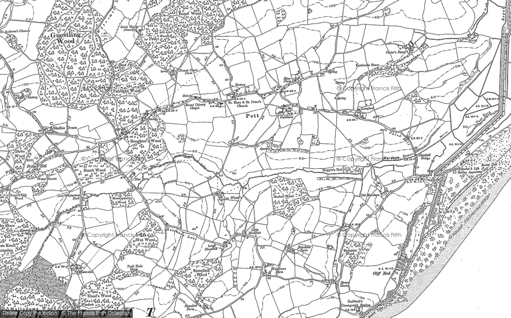 Old Map of Pett, 1907 - 1908 in 1907