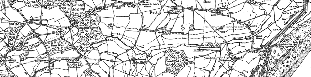 Old map of Pett in 1907