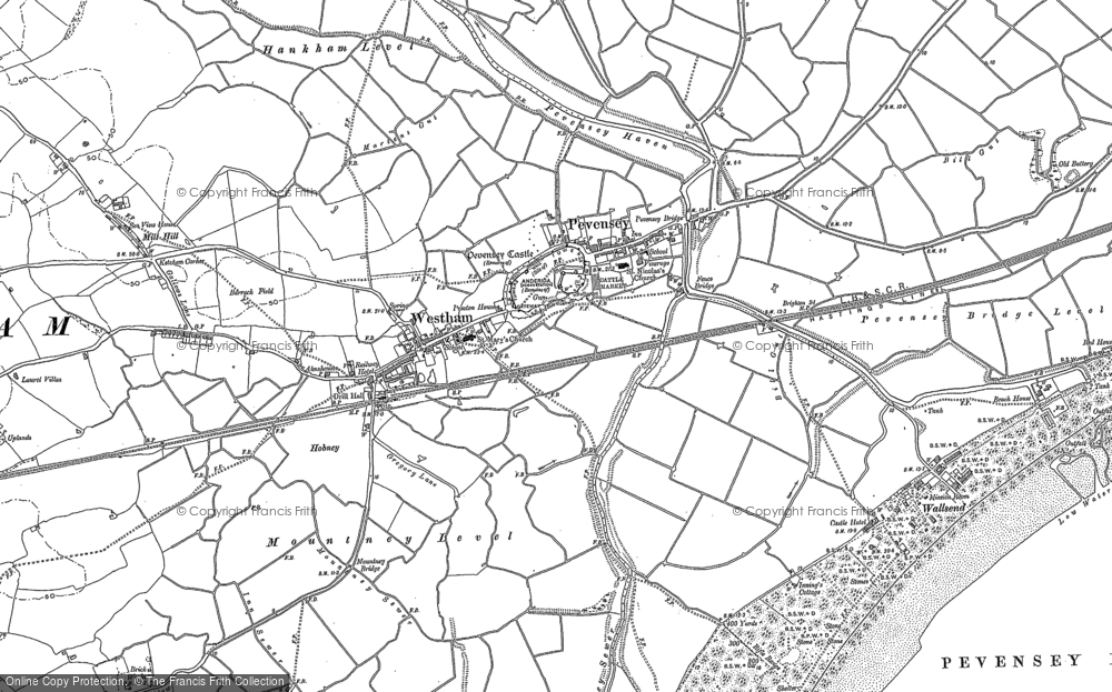 Old Map of Pevensey, 1908 in 1908