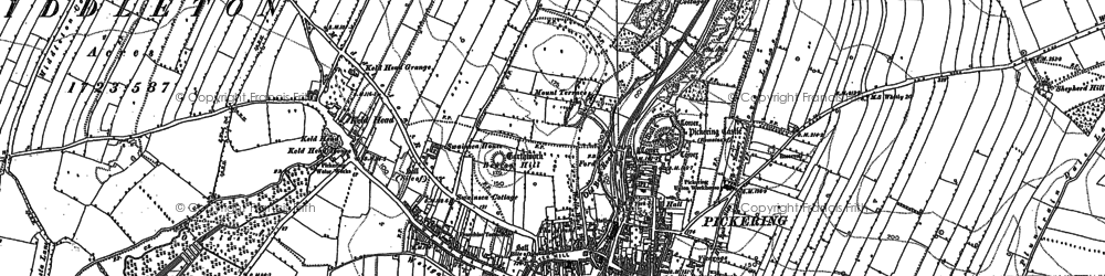 Old map of Pickering in 1890