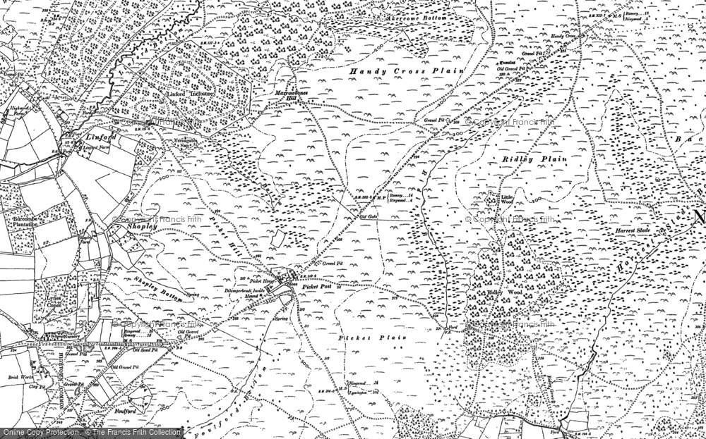 Old Map of Historic Map covering Backley Plain in 1895